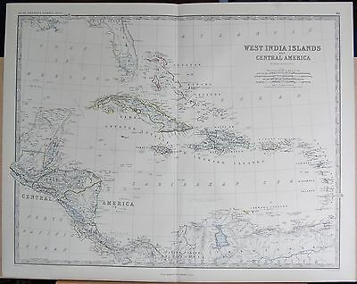 1875 Extra Large Antique Map - West India Islands And Central America