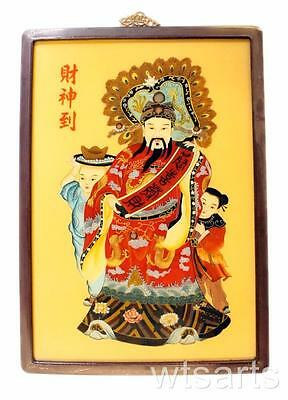 Large Framed Chinese God of Fortune Painting