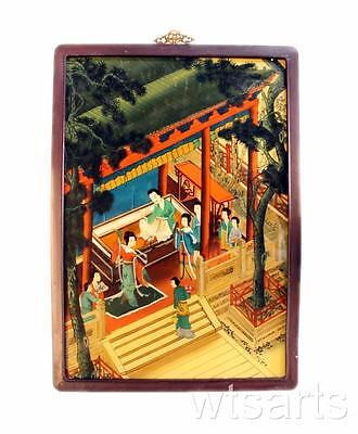 Large Framed Chinese Painting of Mansion / Building