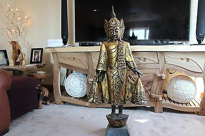 carved wooden buddha  standing 125cm high