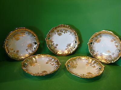 Hammersley Set Of Five  Heavily Gilded Embossed And Pierced  Dishes