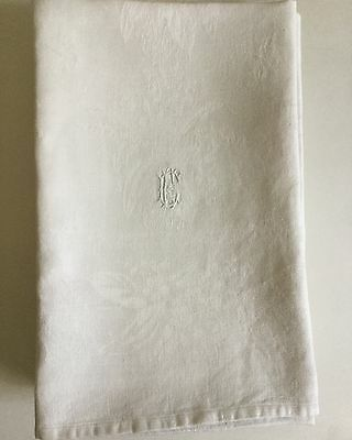 "Lot Of 7 Pcs Large Damask Hand Towels  Measures  L49""x201/2"" W Monogram Ec"