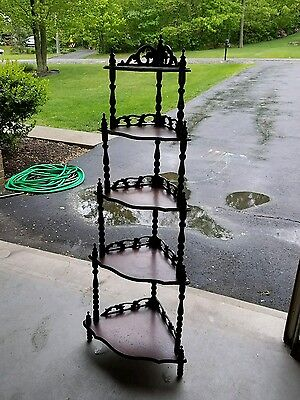 5 Shelf Victorian Corner Etagere What Not Shelf Stand Curio Display Antique