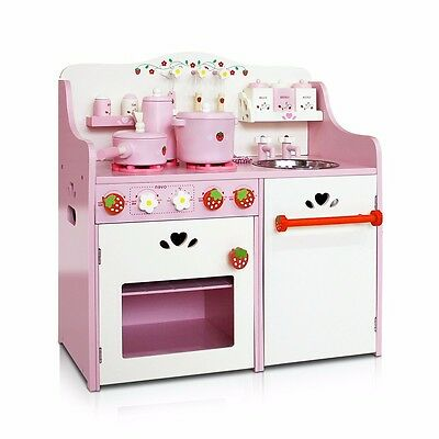 Wooden Kitchen Pretend Play Set Toy Children Kids Toddlers Cooking Cookware #T