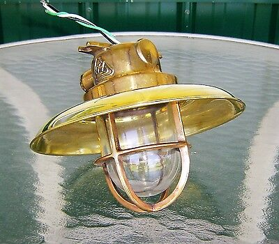 Vintage Brass Nautical Ship Ceiling Light With Rain Cover - Rewired (Lot G)