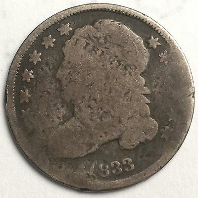 1833 Capped Bust Dime Jr-1 Extremely Rare Cud Reverse