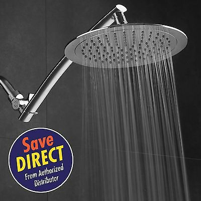 AquaSpa Razor Mega Size 9-inch Chrome Face Rainfall Shower with 15-inch Extensio