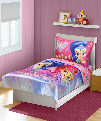 "Shimmer and Shine ""Satin Dreams"" 4-Piece Toddler Bedding Set"