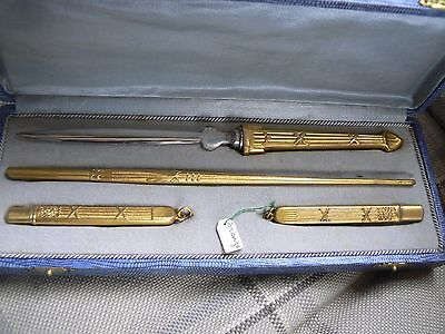 Superb Boxed French Bronze Gilt Writing Set Dipping Pen Pencil Letter Opener  Mr