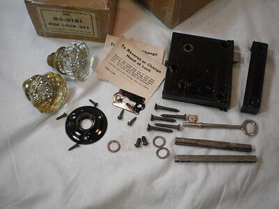 Vintage Mongomery Ward Rim Lock Set w/ Crystal Door Knobs Key Rod Screws In Box