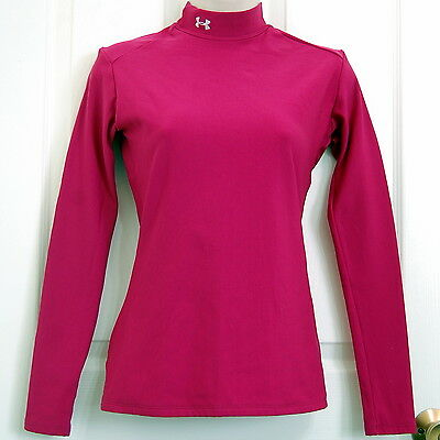 UNDER ARMOUR Long Sleeve Fitted Mock Shirt Dark Pink Sz MD Compression Base Cold