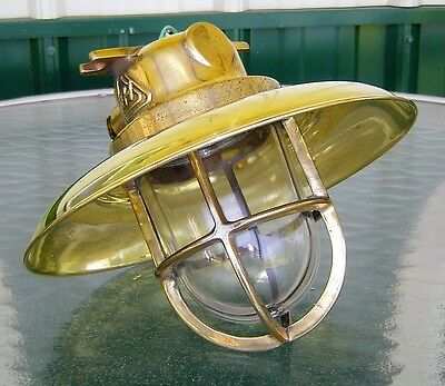 Brass Nautical Ship Ceiling Light With Rain Cover - Rewired (Lot H)