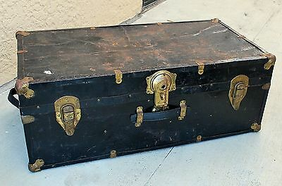 Antique Flat Top Steamer Trunk Black and Gold All Original Metal and Wood Chest