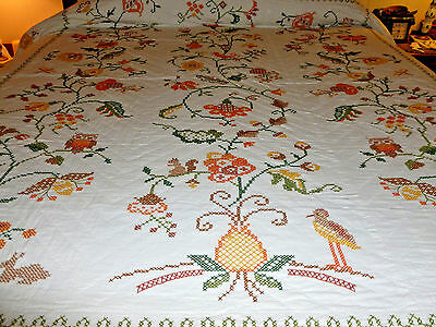 VINTAGE HANDMADE CROSS STITCHED  QUILT & HAND QUILTED it 80 x 96