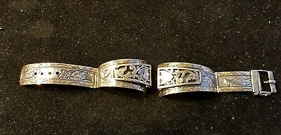 Vintage 10K Gold Sterling Silver Hand Made Buckle Watch Band Free Shipping!!!!!