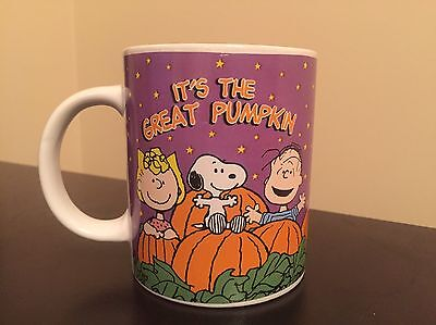 """It's The Great Pumpkin"" Halloween Mug Peanuts Sally Brown Snoopy Linus"