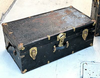 Antique Black Steamer Trunk All Original Metal and Wood Chest Traveler's Trunk