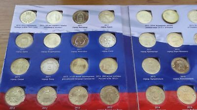 55 COINS FULL SET RARE RUSSIAN COINS 10 RUBLES 2010-2016  ALBUM present
