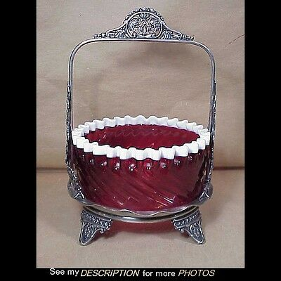 Antique Victorian Hartford Silver Plate Cased Cranberry Swirl Brides Basket
