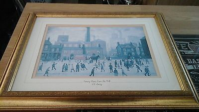 L S Lowry Print Coming Home From the Mill in Mounted and in a Frame