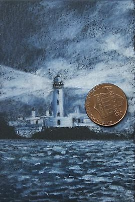 ORIGINAL DOLLHOUSE Miniature, 1:12 Scale ACEO Art, Lighthouse Drawing on Paper