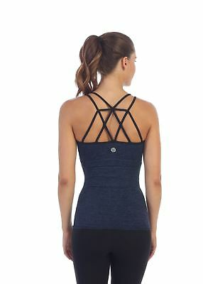 New American Fitness Couture Womens Top Strappy Back Built In Sports Bra
