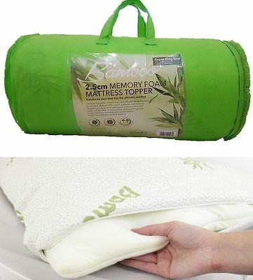 Quality Thick Bamboo Memory Foam Mattress Topper  All Sizes Available S-D-K-Sk
