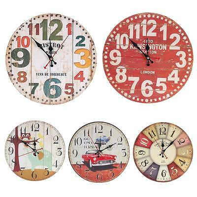 Round Vintage Wooden Rustic Antique Mute Shabby Wall Clock 30cm Home Art Decor