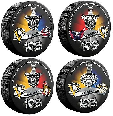 2017 Pittsburgh Penguins Puck Set Of 4 Stanley Cup Eastern Conf. 1St 2Nd Rnd.'s