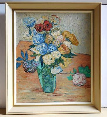"""Original vintage oil painting """"Roses"""", 24""""x20"""" canvas, signed and framed"""