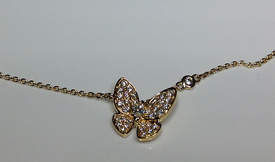 "Estate 18K Yellow Gold 16"" Long 0.72 CTW Diamond Butterfly Necklace 5.3 Grams"