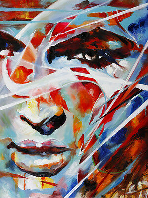 Girl Abstract handpainted oil based painting on wooden stretch canvas