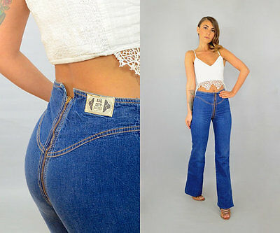 Vintage 1970's 70's Rag City Blues ZIP AROUND jeans High Waisted RARE!  25 X 33