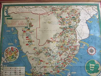 Rare & Beautiful 1950's Philips School Classroom Roll Down Map of South Africa.