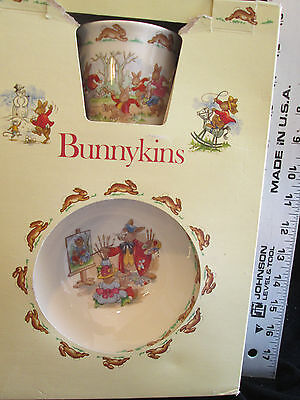 Vintage In Box Royal Doulton BUNNYKINS Childrens Original Set Plate Cup/Mug Bowl
