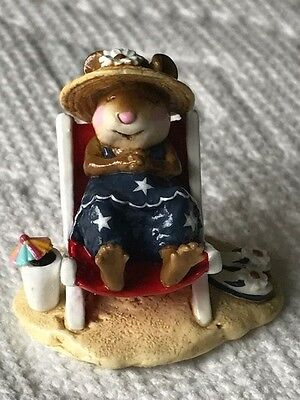 Wee Forest Folk Mouse on Beach Chair Red White and Blue