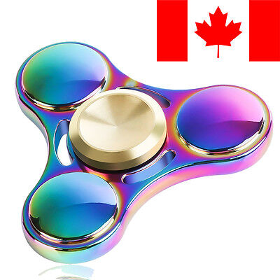 Fidget Hand Spinner Rainbow Chrome Metal Aluminum Edc Stress Relief Toy