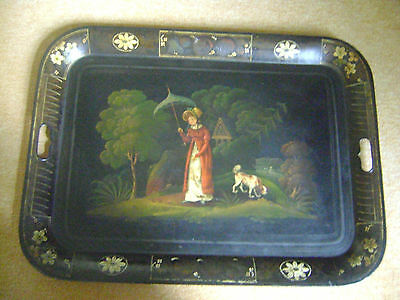 Fine & Rare Antique Georgian Large Toleware Metal Tray Hand Painted Lady And Dog