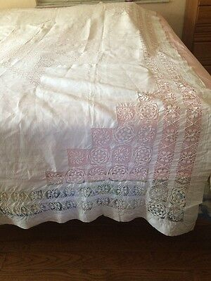 """Vintage Antique White Linen Drawn Thread Tablecloth Bedspread Coverlet 72x98"""""""