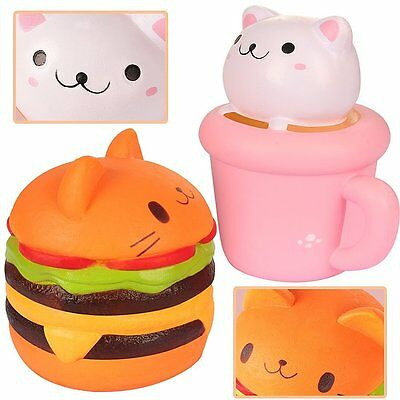 Outee Squishy Slow Rising Toy Lot 2 Pack Kawaii Jumbo Cat Hamburgers Free Ship