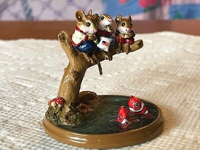 Wee Forest Folk PM-1 Chums Hangin' Out, Patriotic Red/White/Blue Limited Retired