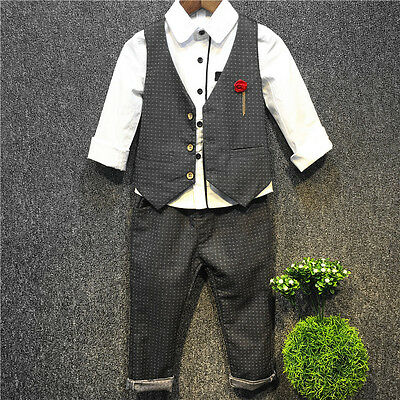Toddler Kids Baby Boy T-Shirt Tops Waistcoat Pants Clothes Set Outfits