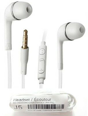 White Earphones Earbuds Headset Mic Fits Samsung S8 S7 S6 S5 Edge Note S4
