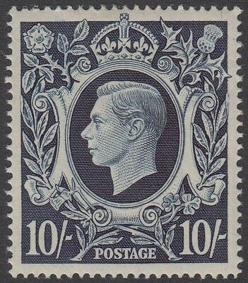 GB KGVI 10s. Dark Blue SG478 Ten Shillings George VI 1939 Mint Hinged Stamp 10/-