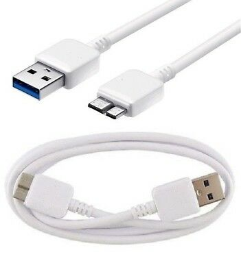 White USB 3.0 Data Syn Charge Cable for Samsung Galaxy Note 3 S5
