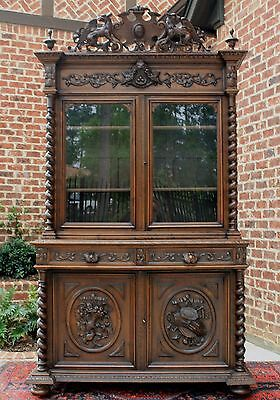 Antique French Oak BLACK FOREST HUNT Cabinet Barley Twist GOTHIC Bookcase 1870's