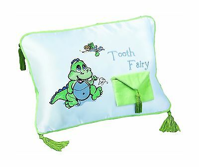 """Lillian Rose Tooth Fairy Embroidered Pillow Dinosaur 12"""" x 9"""" New"""