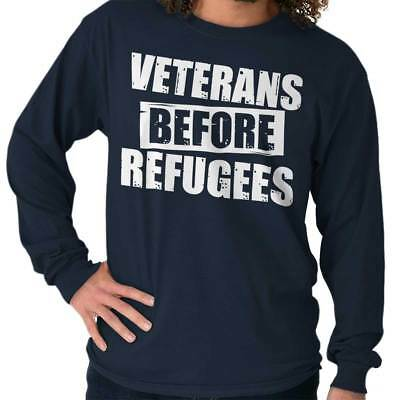 Veterans Before Refugee Shirt USA American Flag VFW Army Cool Long Sleeve Tee
