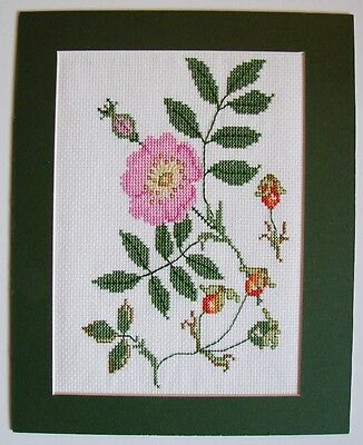 Reduced Beautiful Mounted Floral Hand Embroidery   Removed From A Damaged Frame