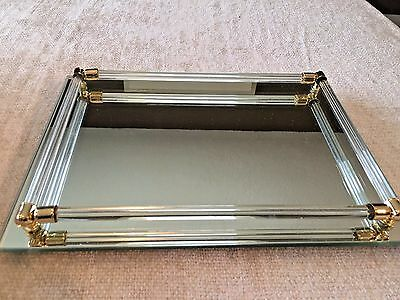 "Glass Mirrored Vanity Tray with Glass and Brass Rails - 11"" x 8"""